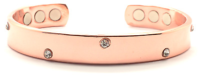 Ladies Magnetic Copper Bracelet With Gems Arthritis Pain Relief Bangle Scb034