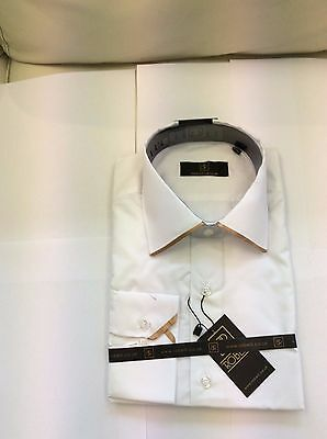 Brand New White With Dark Gold Edge Collar Shirt  By Robelli