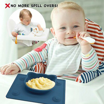 Portable Silicone Baby Suction Plate & Place-mat Highchair Infant/Kids Food Tray