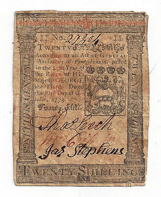 1773 Pennsylvania Twenty Shillings Colonial Currency Note No.27404