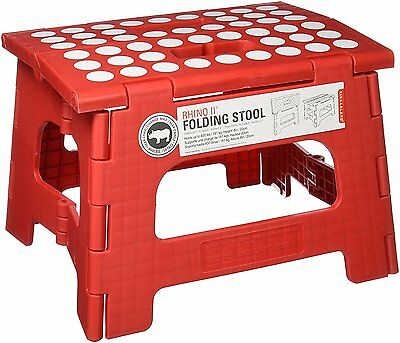 Brand New Rhino Step Stool - Plastic - Red - Great Handy Foldable Stool