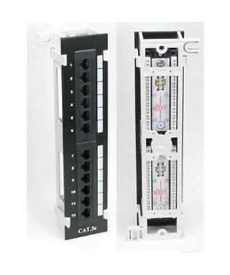 12 Port Cat5e 110 Type RJ45 Network Patch Panel Vertical with Wall Mount Bracket