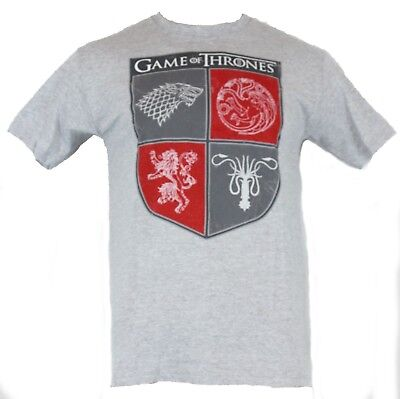 Game of Thrones Mens T-Shirt - Four Houses Red and Gray Distessed Shield