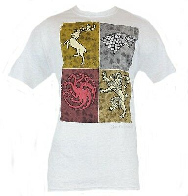 Game of Thrones Mens T-Shirt - Colored Four Box Houses Crests Images