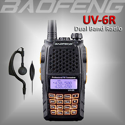 2018 BAOFENG UV-6R Dual Band UHF/VHF Ham Radio 136-174/400-520Mhz Walkie Talkie
