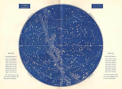 1893 Star Map August Large Antique Astronomy Print Constellations Celestial