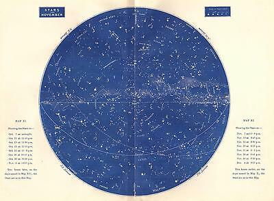 1893 Star Map November Large Antique Astronomy Print Constellations Celestial