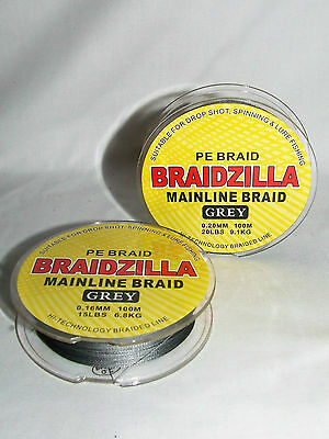 Braidzilla Mainline Braid - PE Briad 100mtr Spool - Carp Coarse Sea
