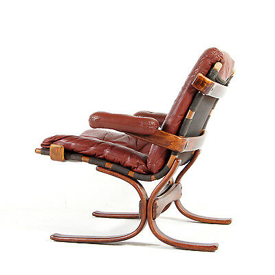 Retro Vintage Danish Modern Leather & Rosewood Lounge Armchair Easy Chair 70s