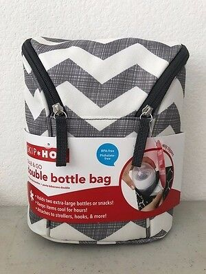 Skip Hop Grab-and-Go Insulated Double Bottle Bag, Chevron BRAND NEW!