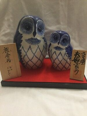 Signed Asian Ceramic Pottery Hand Painted 2 Owls W Plaque & Stand Figures Statue