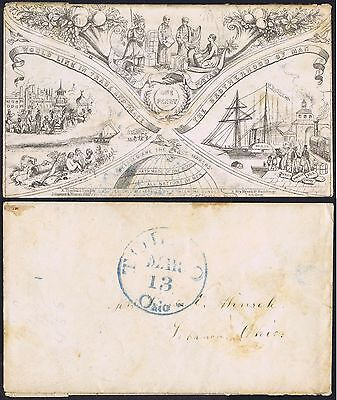 1853 Valentines OPP Envelope 2nd Design One of only Four Used in USA - Toledo