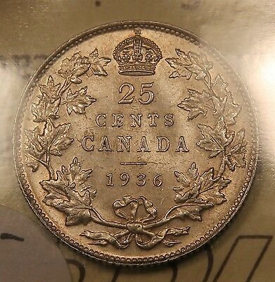 1936 Canada Silver 25 Cents. AU-50 ICCS. Nice lustre.