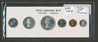 1955 Canada PL Prooflike Mint Set. Low mintage 6300, Full red Penny, Cameo Coins