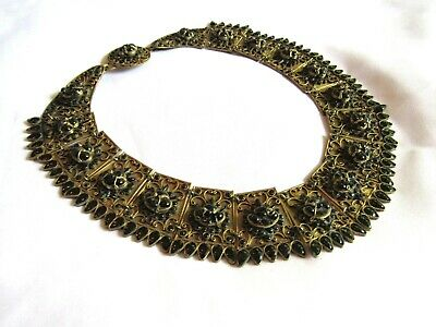 VTG ANTIQUE Tibetan Panel Ornate Brass ,Onyx Beaded Wide Bib Necklace 1930's