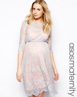BNWT ASOS Maternity Lace Midi Dress with scalloped details Size 14 RRP $199