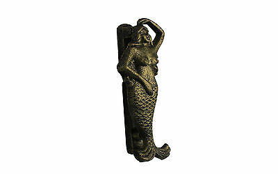 "Rustic Gold Cast Iron Mermaid Door Knocker 6"", made of cast iron"