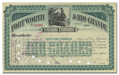 Fort Worth & Rio Grande Railway Company Stock Certificate