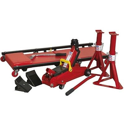 Sealey JKIT01 Lifting Kit 5 Piece (Jack, Axle Stands, Creeper, Chocks & Wrench)