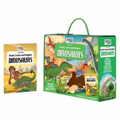 NEW SASSI Travel, Learn and Explore Dinosaurs Book and Puzzle