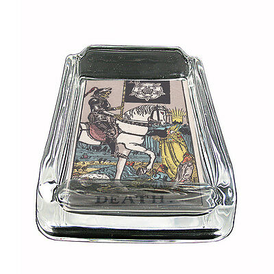 "Tarot Card D14 Glass Square Ashtray 4"" x 3"" Smoking Cigarette XIII Death"
