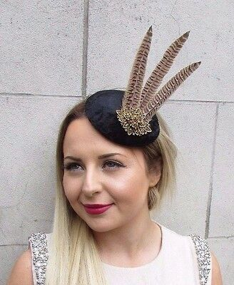 Black Brown Bronze Pheasant Feather Pillbox Hat Fascinator Hair Clip Vtg 2845