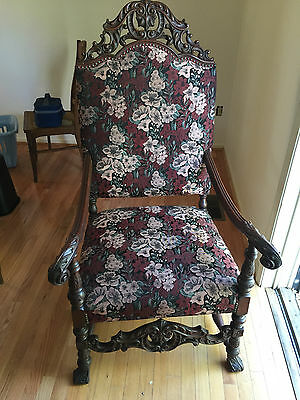 Antique Early 1900's William and Mary Upholstered Arm Chair - Excellent Cond.