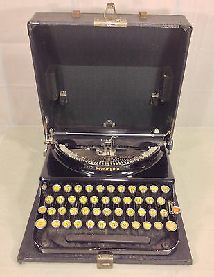 Vintage Remington Typewriter in Hard Black Case Carriage Not Moving 1929