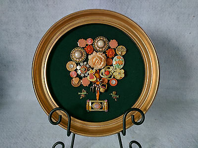 Framed Jewelry Art Bouquet vintage collage Peach Green Gold Round Wall Mount