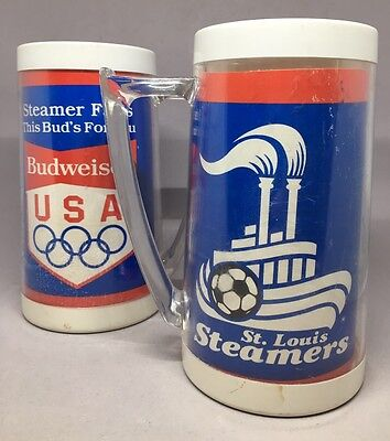 TWO Budweiser St Louis Steamers This Buds For You Thermo Mugs - set of 2