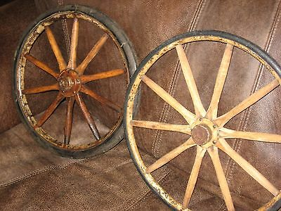 Two Early Carriage Wooden Wheels