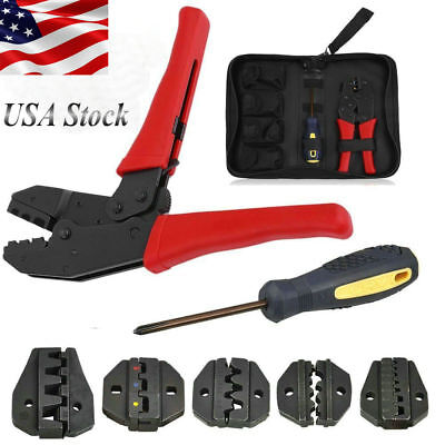 Hand Striper Cable Crimper Tool Wire Connector Terminal Ratchet Plier Crimping