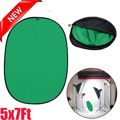Lightweight Reversible Popup Green Black Screen Background Panel 5x7ft New US
