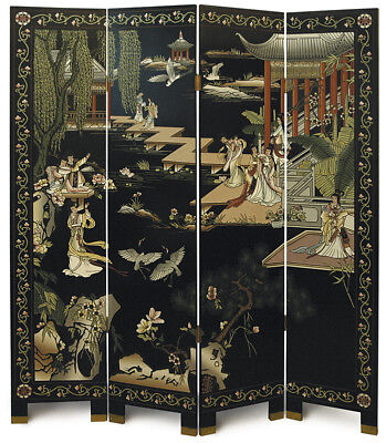 "4 Panel ""Garden"" Chinese Black Lacquer Screen/Room Divider"