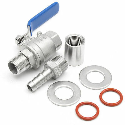 1/2'' Stainless Steel Weldless Compact Ball Valve Barb Home Brew Beer Kettle Kit