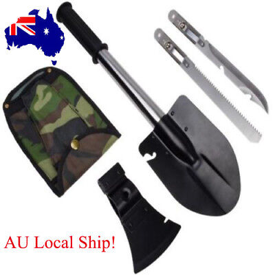 4-in-1 Sapper Shovel Set Camping Hiking Emergency Knife Axe Saw Gear Kit Tools