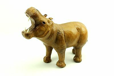 "12""L Leather Hippo Handmade Figure Sculpture Africa Wildlife Missing a Tooth"