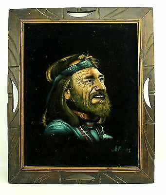 Retro Vintage WILLIE NELSON Signed Black Velvet Framed Painting Mexico