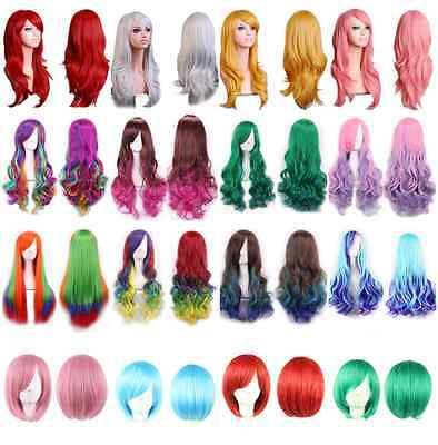 Cosplay Full Head Ombre Wig Long Wavy Hairpiece Fashion Gradient Wig Short Hair