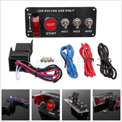 Racing Car Ignition Switch Panel LED Toggle Engine Start Push Button Starter GL