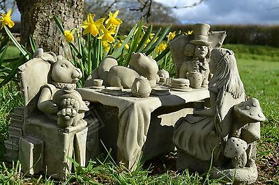 Alice in Wonderland Set/Garden Ornament/Sculpture/Stone/Gift/Mad Hatters T Party