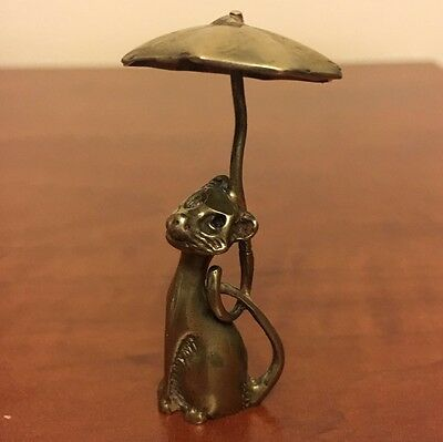 Vintage Solid Silver Cat under Umbrella Miniature - Stamped - Made in Italy