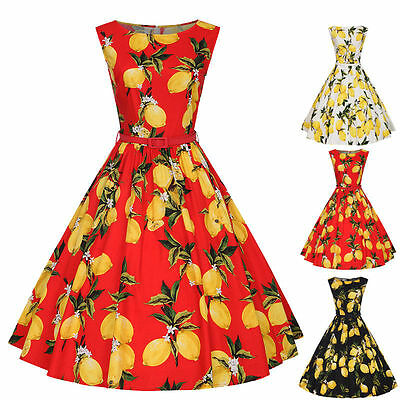 Vintage Retro Womens Swing 50s Housewife Rockabilly Pinup Party Prom Gown Dress