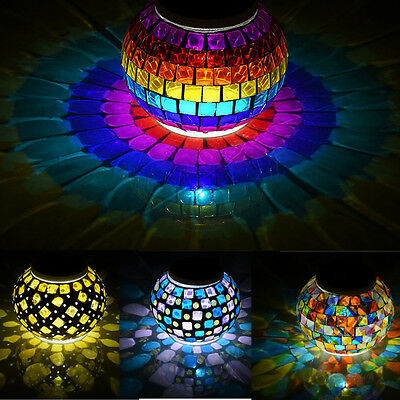Outdoor Solar Power Lawn LED Light Mosaic Glass Ball Garden Stake Color Changing