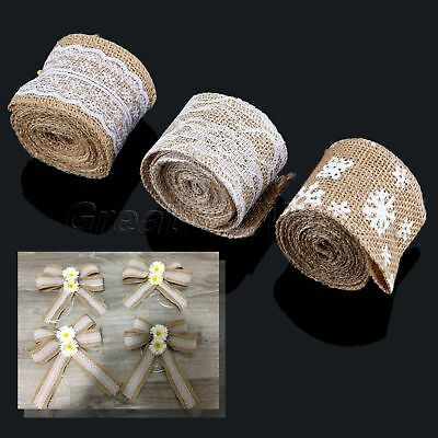 New 2M Natural Jute Burlap Hessian Plaited Rope Ribbon Bow Wedding Gift Wrapping