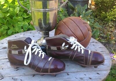 antique vintage leather football shoes ,KING, soccer shoes with leather cleats ,
