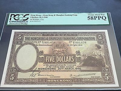 Hong Kong 5 Dollars P173e Dated 30th March 1946 PCGS Choice About New 58PPQ aUNC