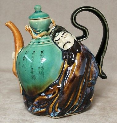 Amazing Vintage Japanese Teapot with Male Figurine, Glazed Porcelain, c.1970 -A1