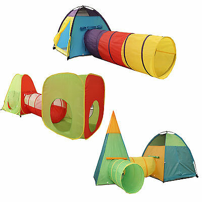 Kids Children Large Play Tent Tunnel Teepee Indoor Outdoor Boys Girls Play House