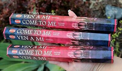 COME TO ME INCENSE STICKS~Hem~Hexagonal Pack of 20 Sticks x 3 Wicca Smudge Pagan